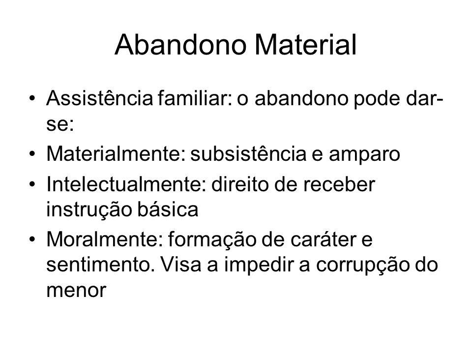 Abandono Material Assistência familiar: o abandono pode dar-se: