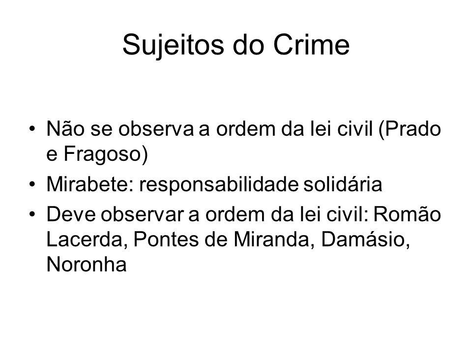 Sujeitos do Crime Não se observa a ordem da lei civil (Prado e Fragoso) Mirabete: responsabilidade solidária.