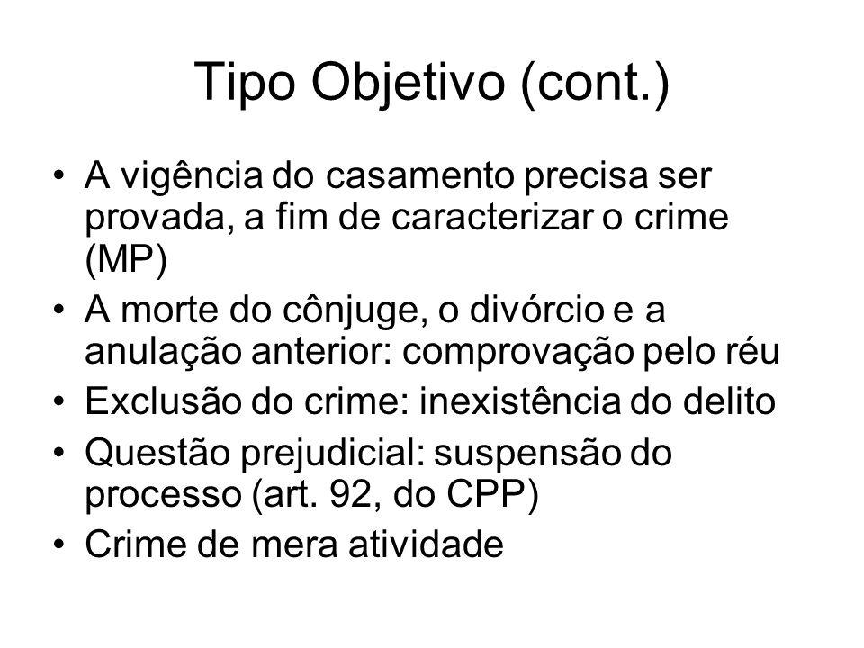 Tipo Objetivo (cont.) A vigência do casamento precisa ser provada, a fim de caracterizar o crime (MP)