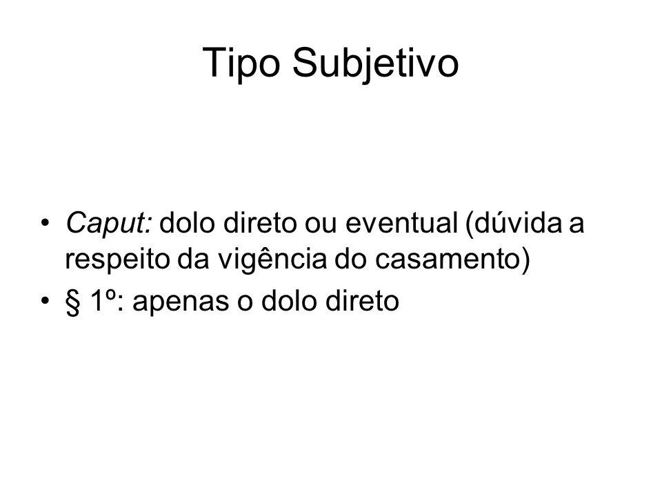 Tipo Subjetivo Caput: dolo direto ou eventual (dúvida a respeito da vigência do casamento) § 1º: apenas o dolo direto.