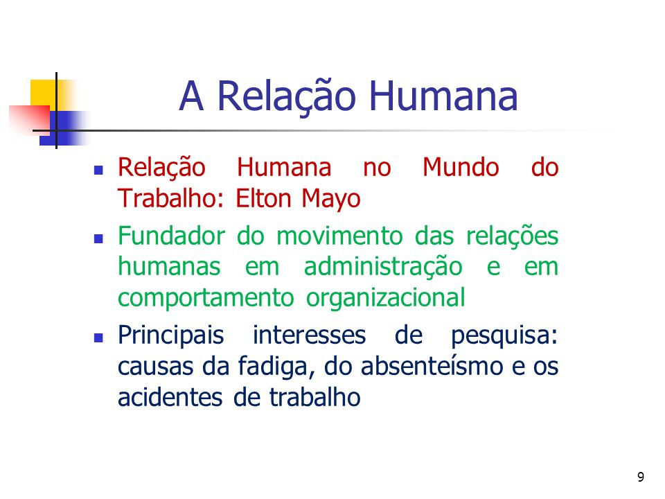 A Relação Humana Relação Humana no Mundo do Trabalho: Elton Mayo