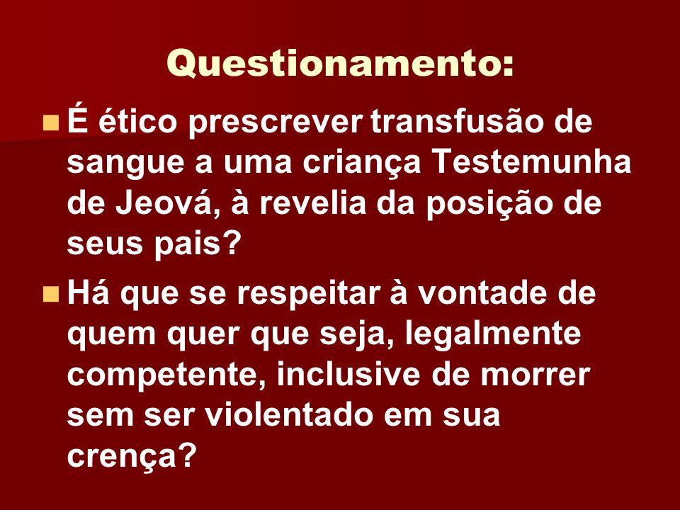 Questionamento: É ético prescrever transfusão de sangue a uma criança Testemunha de Jeová, à revelia da posição de seus pais