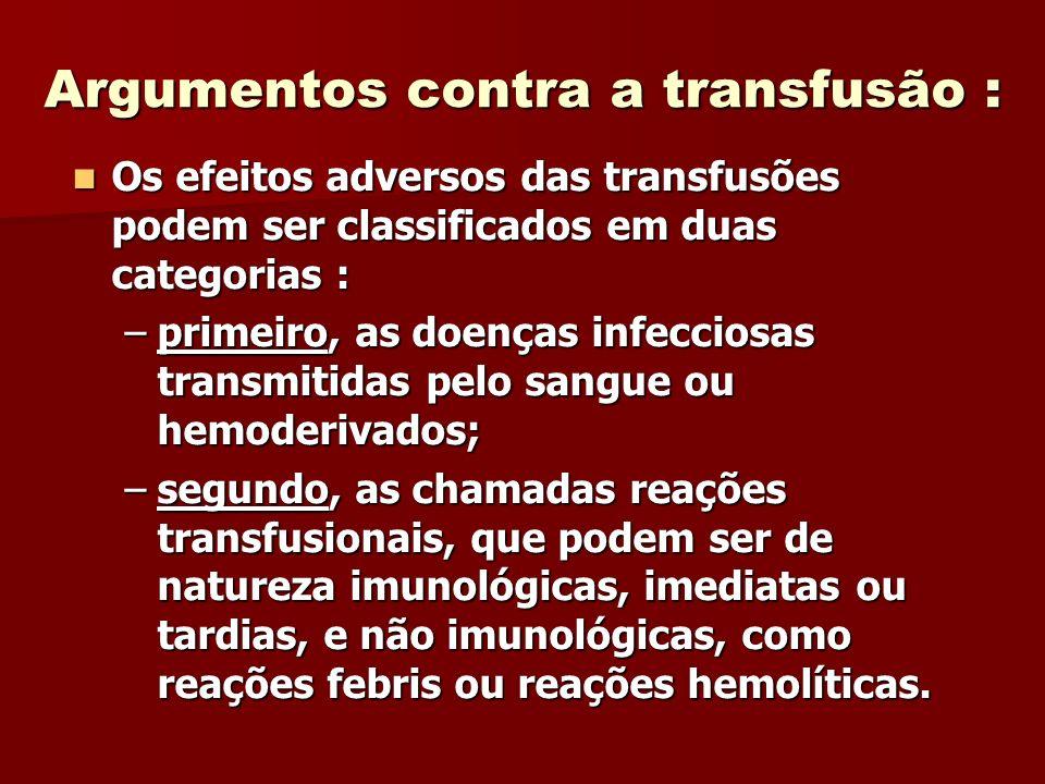 Argumentos contra a transfusão :