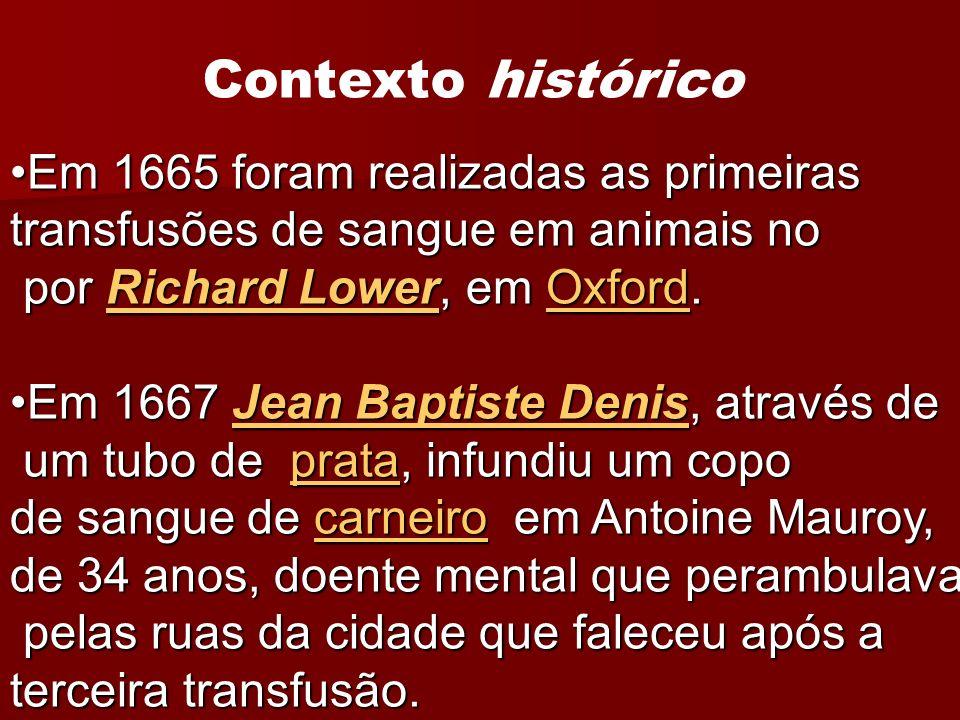 Contexto histórico Em 1665 foram realizadas as primeiras