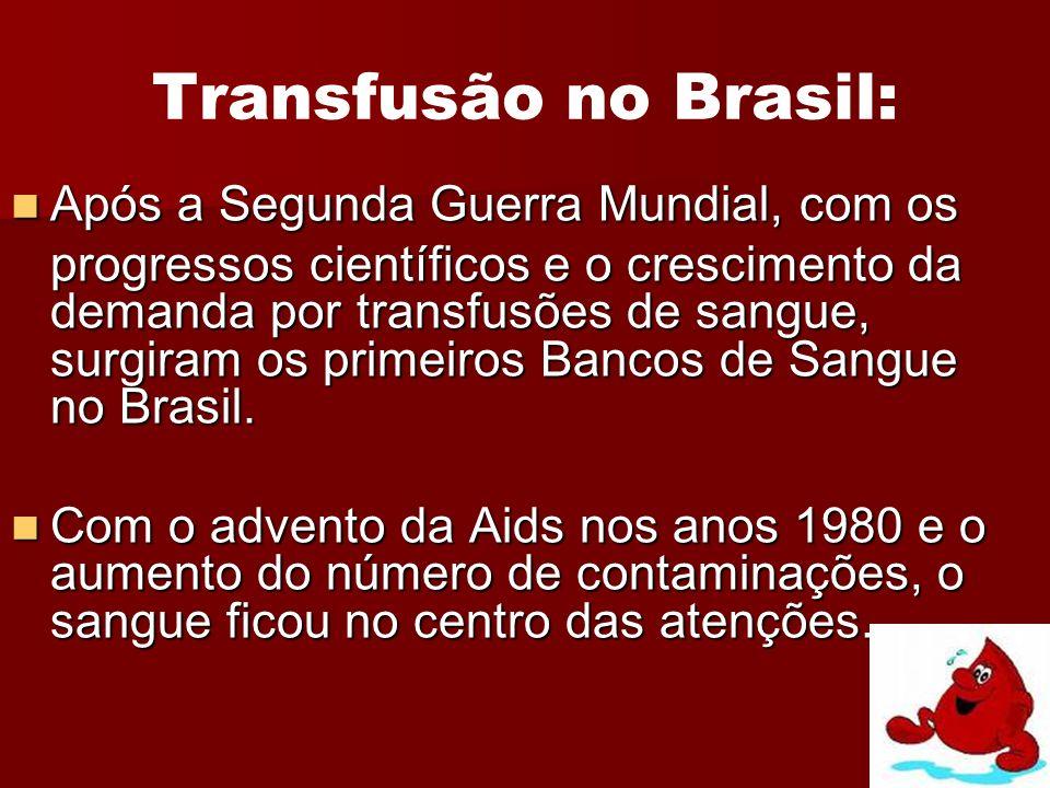 Transfusão no Brasil: Após a Segunda Guerra Mundial, com os
