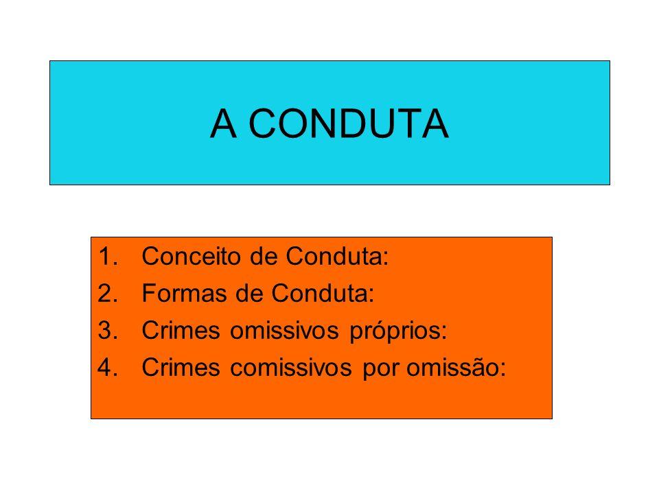 A CONDUTA Conceito de Conduta: Formas de Conduta: