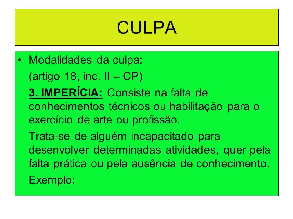 CULPA Modalidades da culpa: (artigo 18, inc. II – CP)