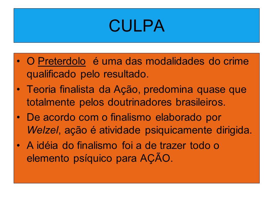 CULPA O Preterdolo é uma das modalidades do crime qualificado pelo resultado.