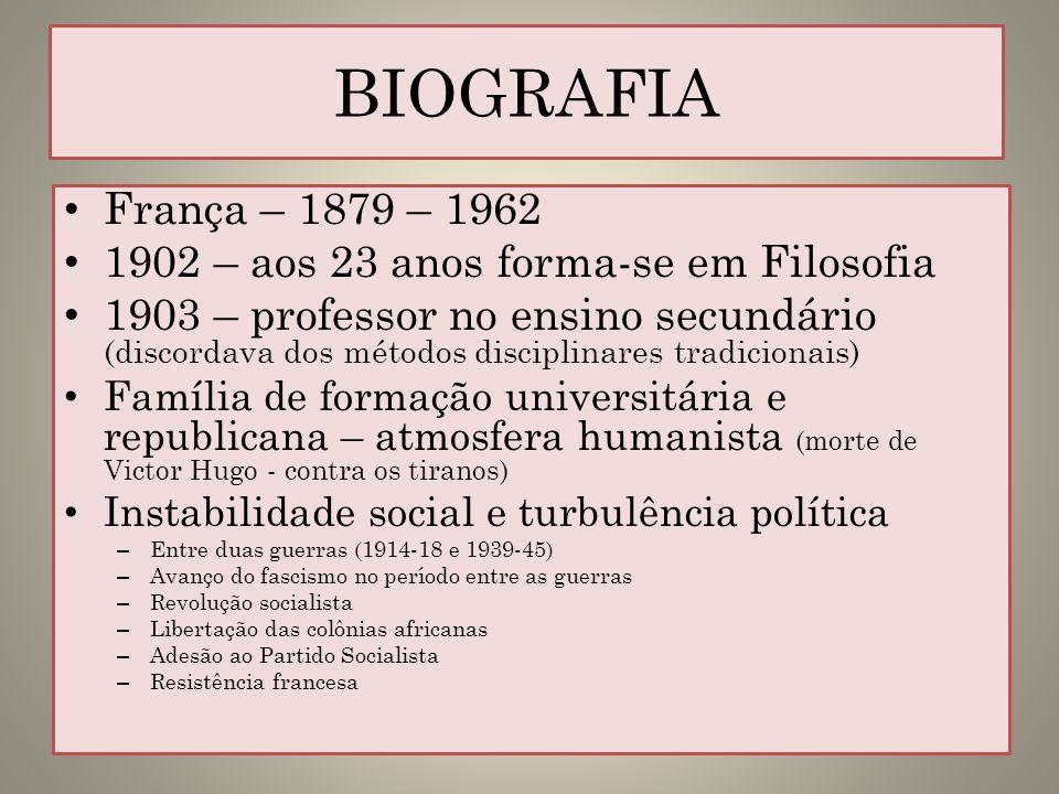 BIOGRAFIAFrança – 1879 – 1962. 1902 – aos 23 anos forma-se em Filosofia.