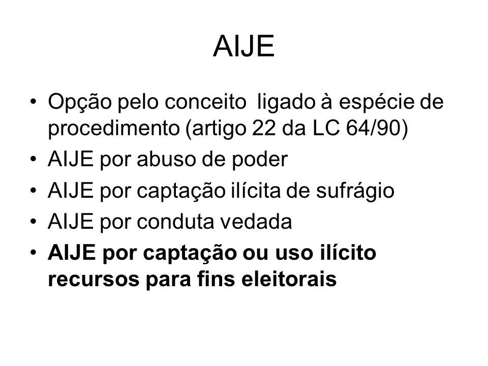 AIJE Opção pelo conceito ligado à espécie de procedimento (artigo 22 da LC 64/90) AIJE por abuso de poder.