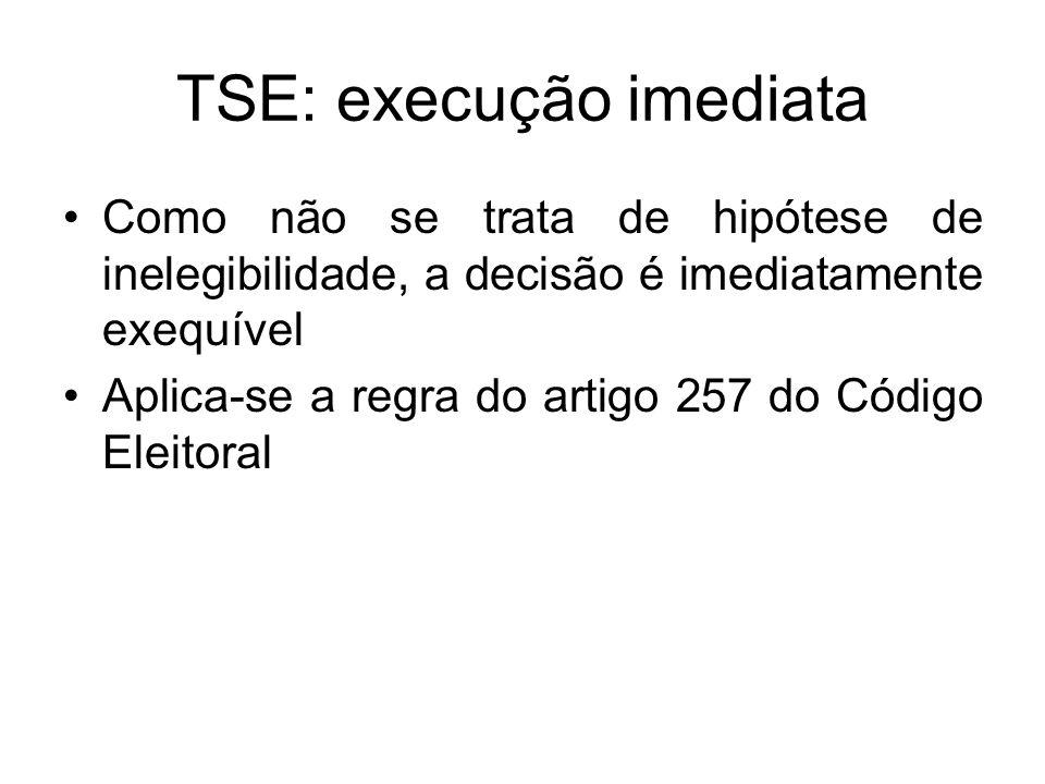 TSE: execução imediata