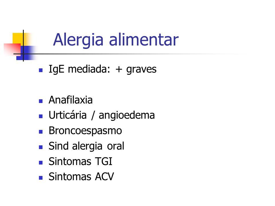 Alergia alimentar IgE mediada: + graves Anafilaxia