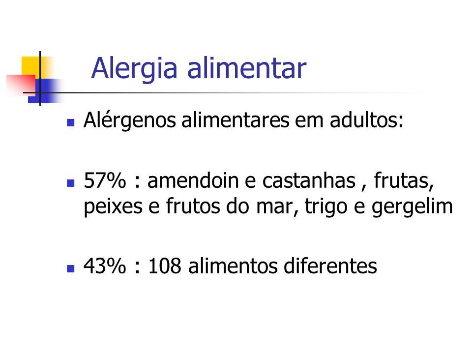 Alergia alimentar Alérgenos alimentares em adultos: