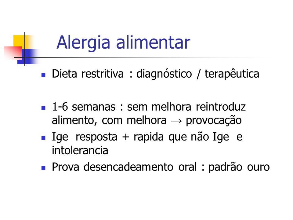 Alergia alimentar Dieta restritiva : diagnóstico / terapêutica