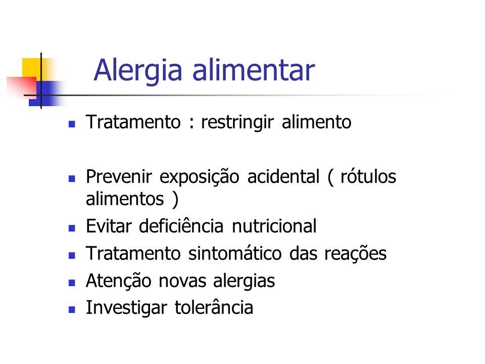 Alergia alimentar Tratamento : restringir alimento