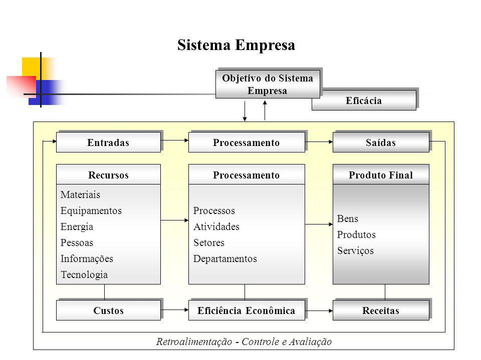 Sistema Empresa Objetivo do Sistema Empresa Eficácia Entradas