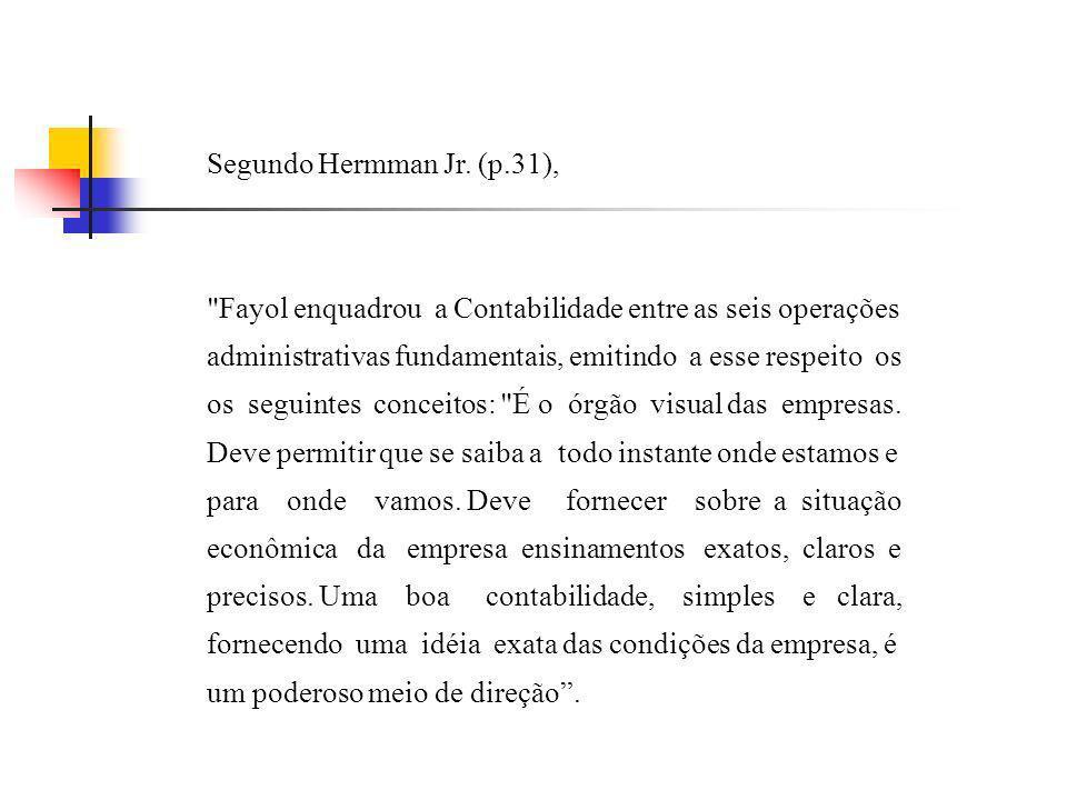 Segundo Hermman Jr. (p.31), Fayol enquadrou a Contabilidade entre as seis operações. administrativas fundamentais, emitindo a esse respeito os.