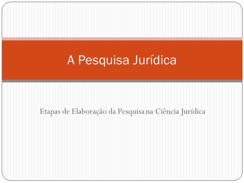 Etapas de Elaboração da Pesquisa na Ciência Jurídica