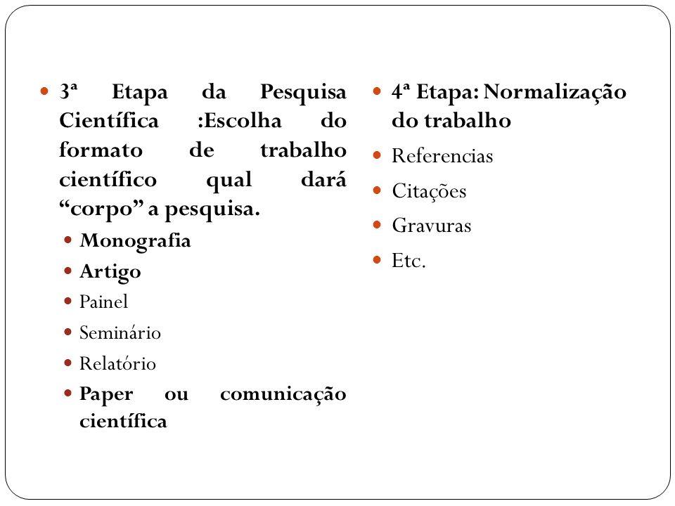 4ª Etapa: Normalização do trabalho Referencias Citações Gravuras Etc.