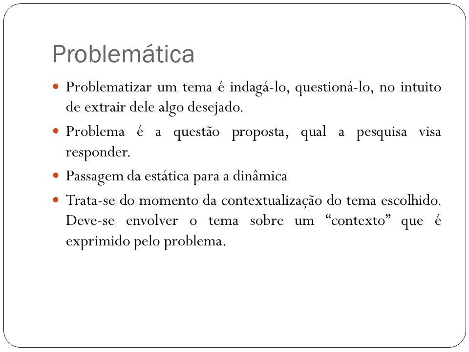 Problemática Problematizar um tema é indagá-lo, questioná-lo, no intuito de extrair dele algo desejado.