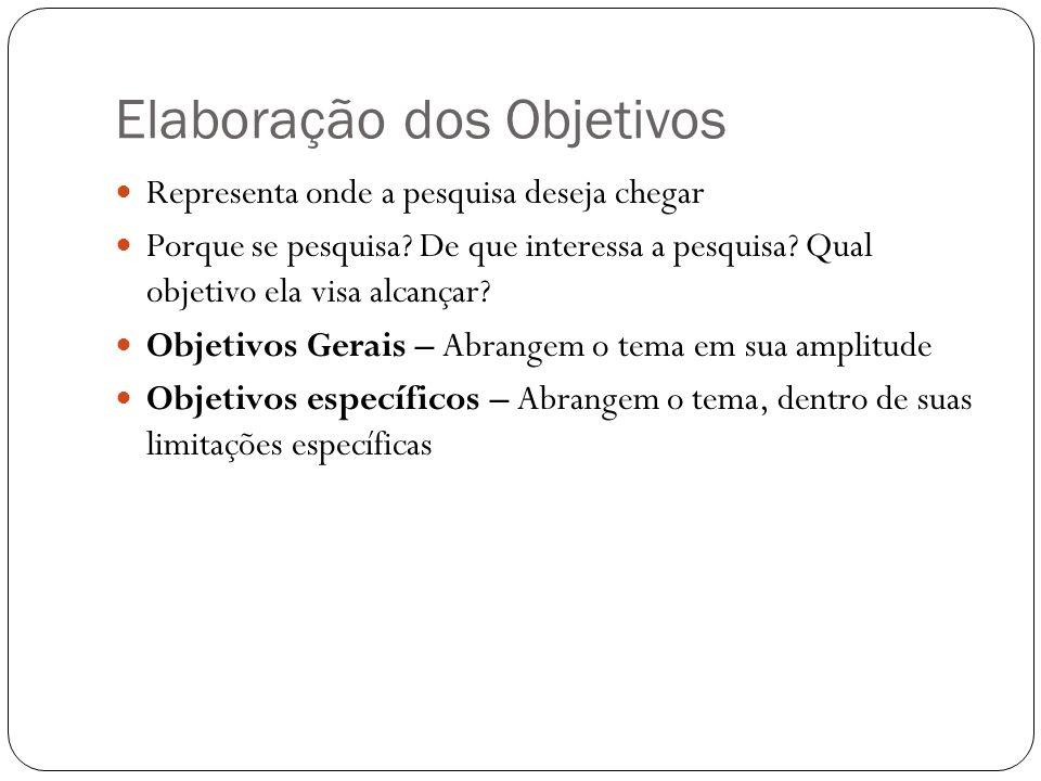 Elaboração dos Objetivos