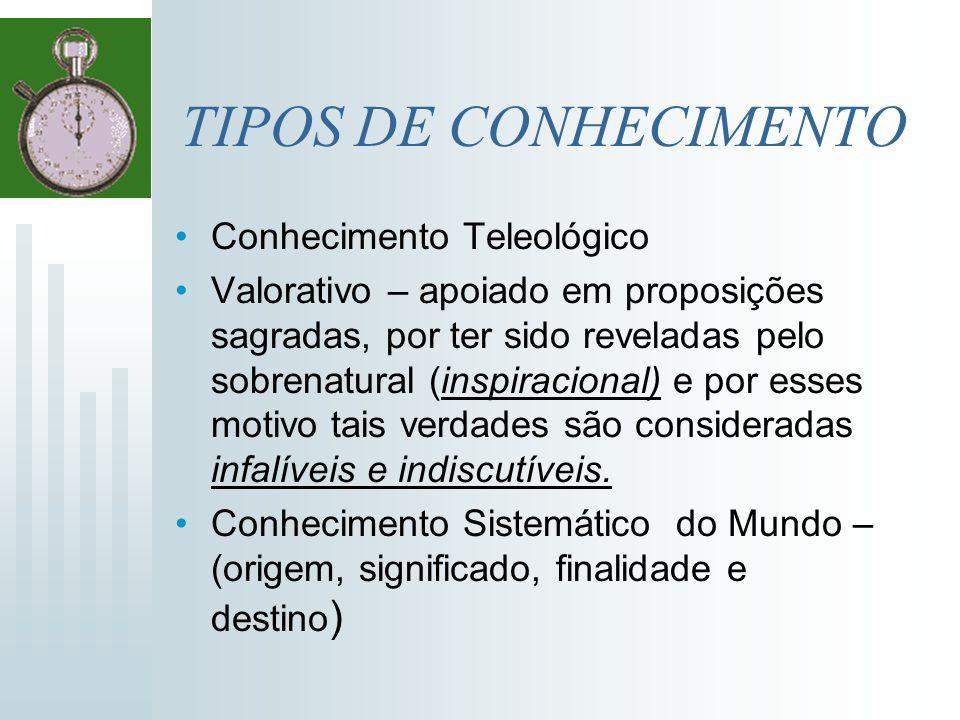 TIPOS DE CONHECIMENTO Conhecimento Teleológico