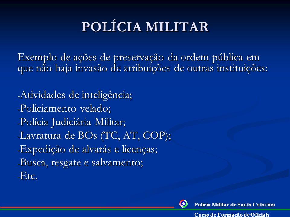 POLÍCIA MILITAR Exemplo de ações de preservação da ordem pública em que não haja invasão de atribuições de outras instituições: