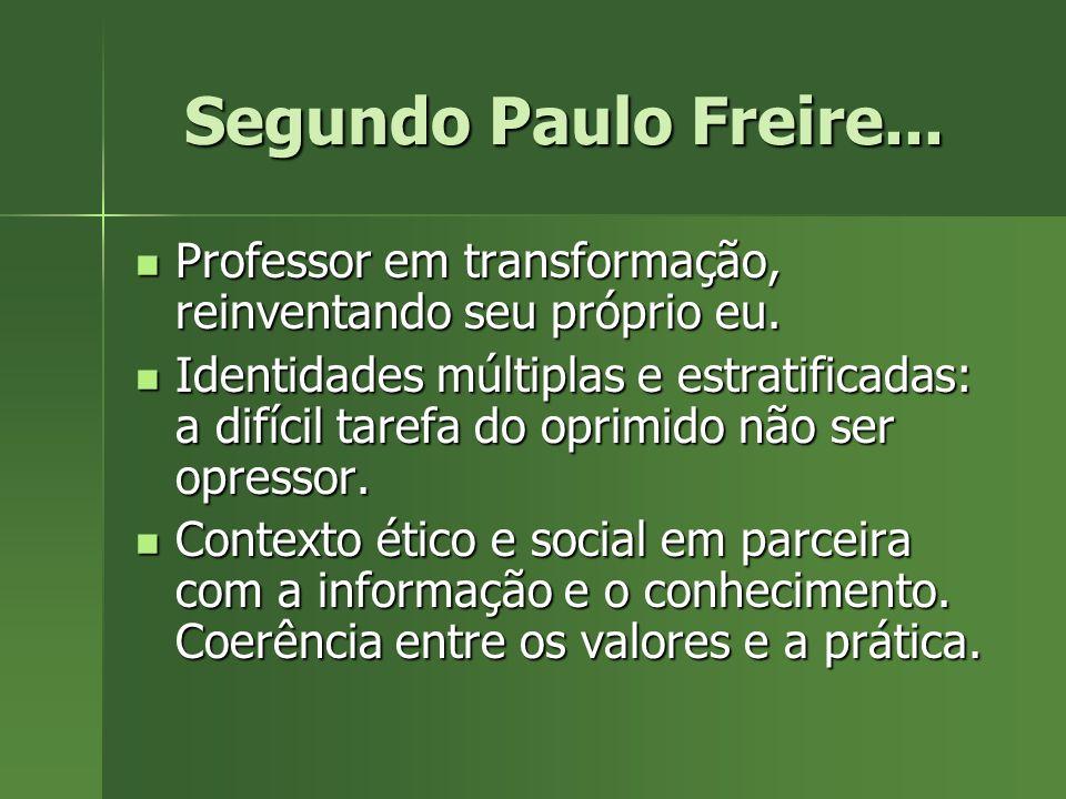 Segundo Paulo Freire... Professor em transformação, reinventando seu próprio eu.