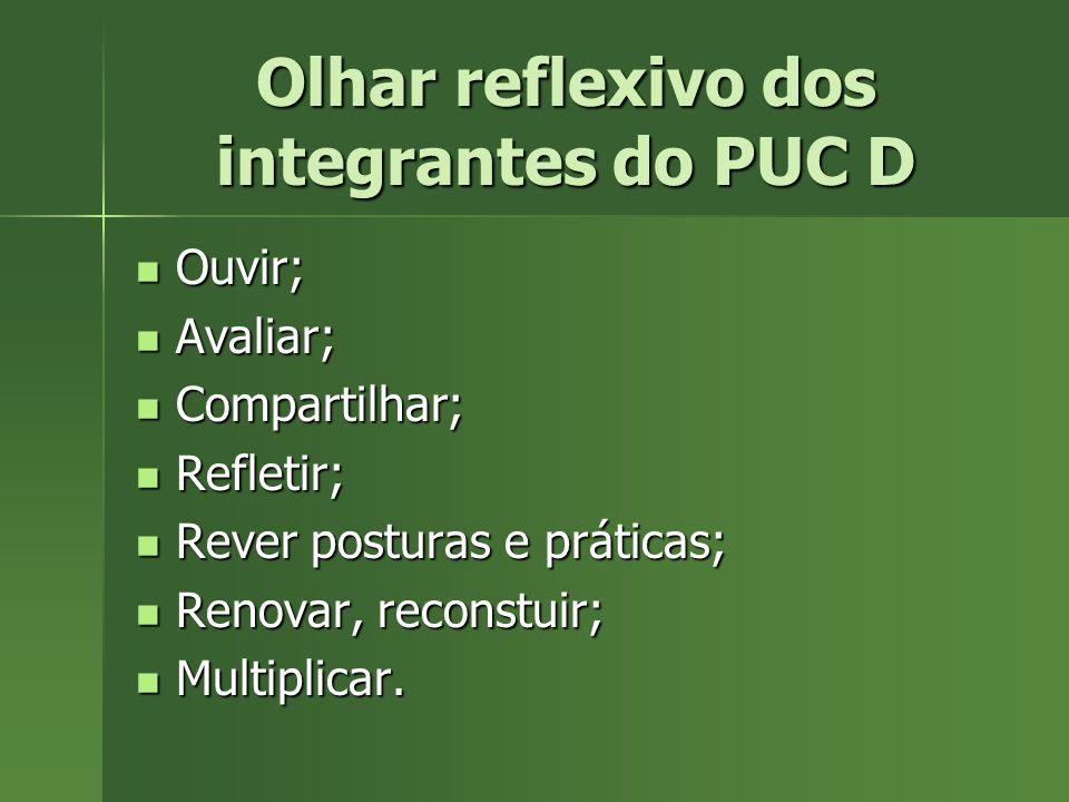 Olhar reflexivo dos integrantes do PUC D