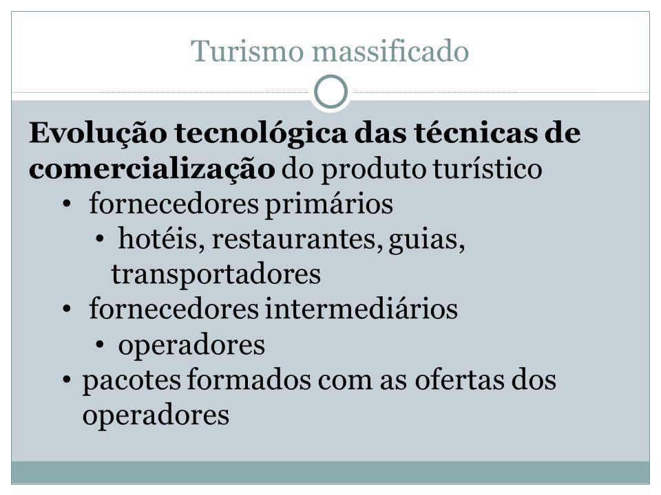 Turismo massificado Evolução tecnológica das técnicas de comercialização do produto turístico. fornecedores primários.
