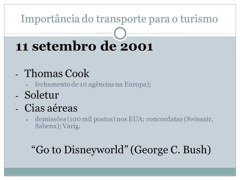11 setembro de 2001 Importância do transporte para o turismo