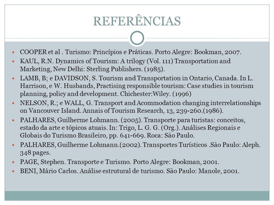 REFERÊNCIASCOOPER et al . Turismo: Princípios e Práticas. Porto Alegre: Bookman, 2007.