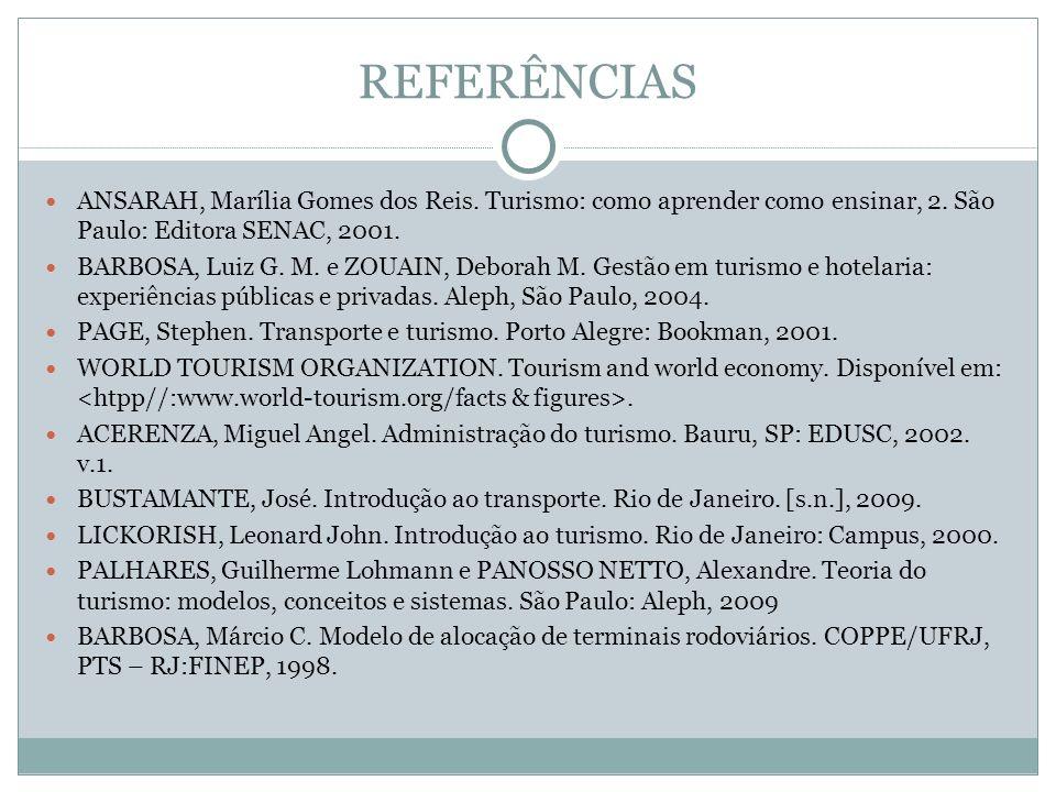 REFERÊNCIAS ANSARAH, Marília Gomes dos Reis. Turismo: como aprender como ensinar, 2. São Paulo: Editora SENAC, 2001.