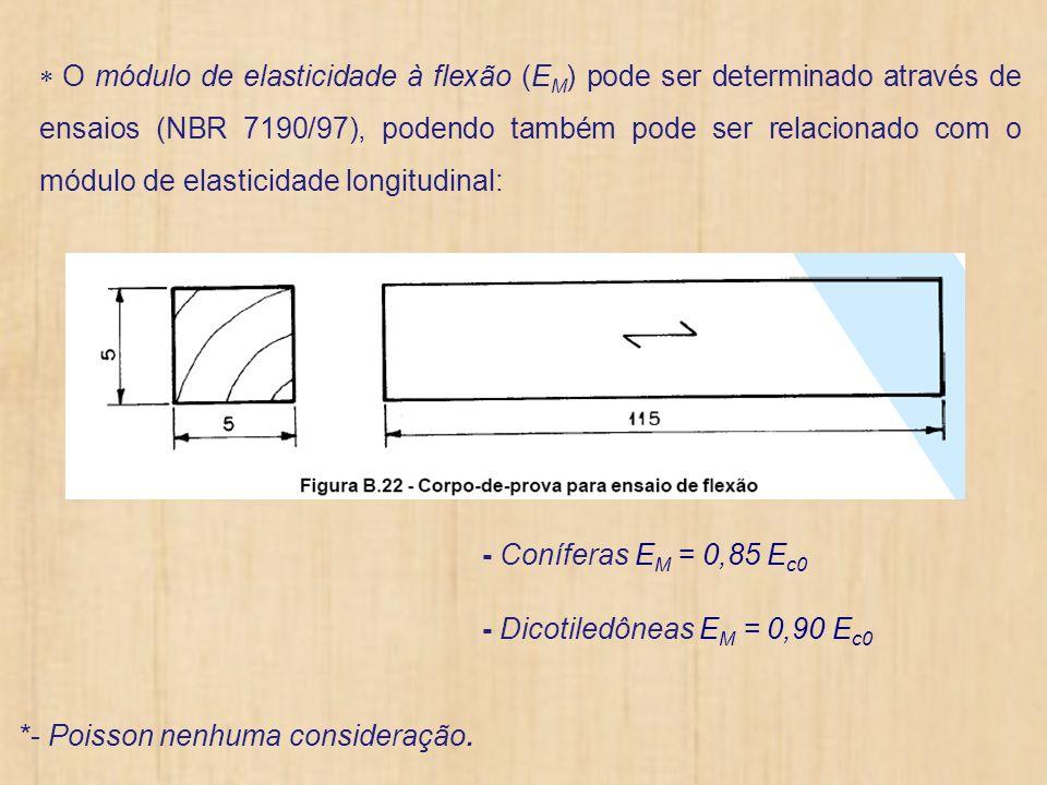 O módulo de elasticidade à flexão (EM) pode ser determinado através de ensaios (NBR 7190/97), podendo também pode ser relacionado com o módulo de elasticidade longitudinal: