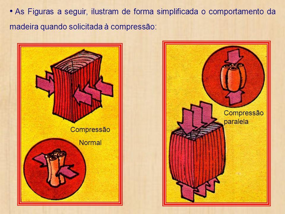 As Figuras a seguir, ilustram de forma simplificada o comportamento da madeira quando solicitada à compressão: