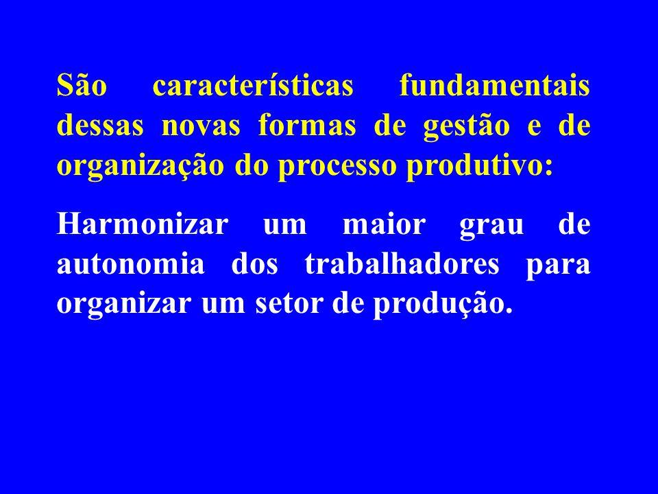 São características fundamentais dessas novas formas de gestão e de organização do processo produtivo: