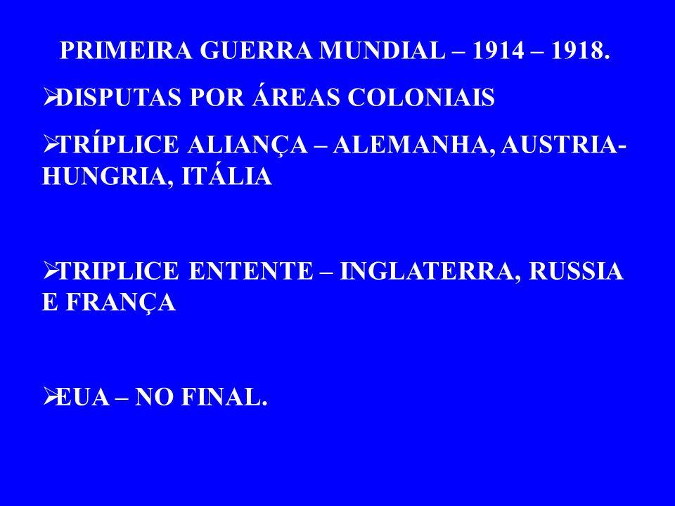 PRIMEIRA GUERRA MUNDIAL – 1914 – 1918.