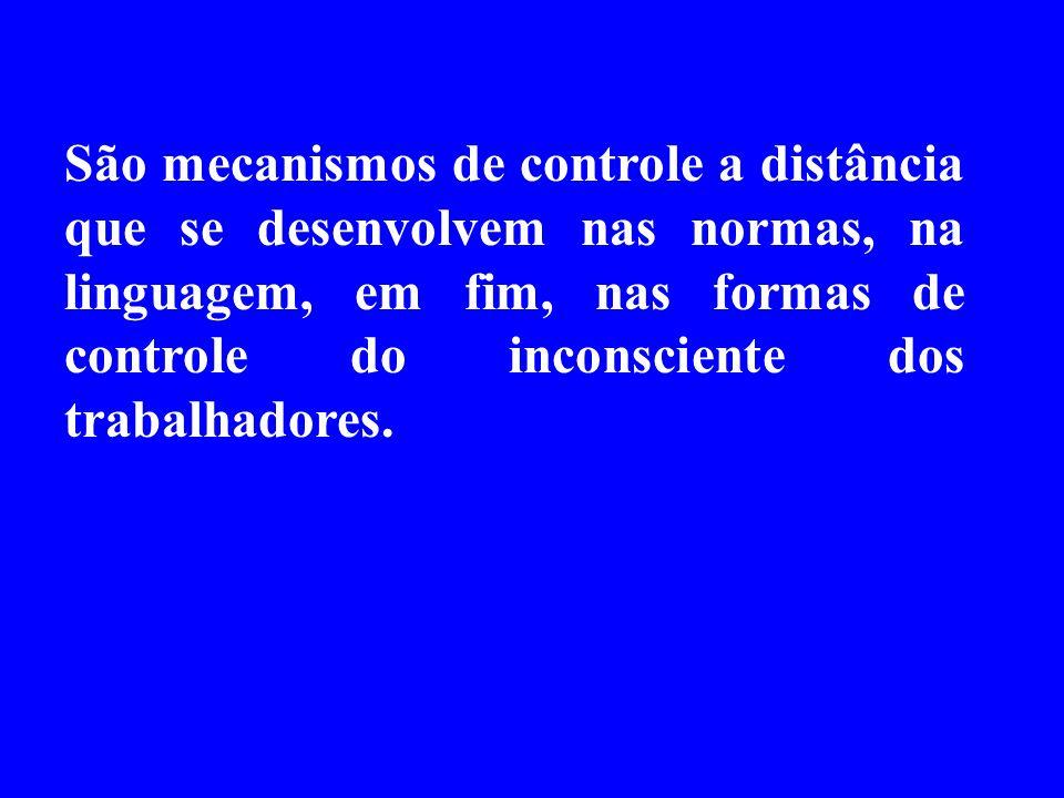 São mecanismos de controle a distância que se desenvolvem nas normas, na linguagem, em fim, nas formas de controle do inconsciente dos trabalhadores.