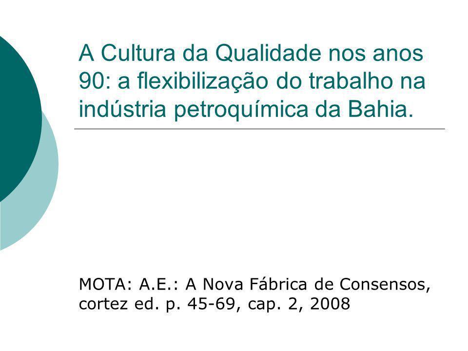 A Cultura da Qualidade nos anos 90: a flexibilização do trabalho na indústria petroquímica da Bahia.