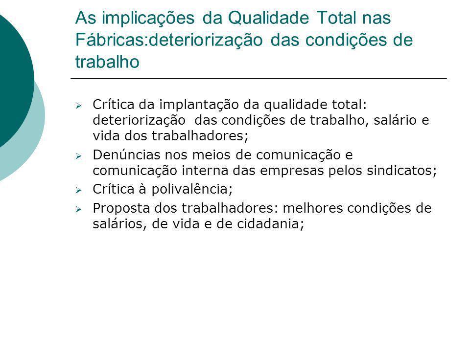 As implicações da Qualidade Total nas Fábricas:deteriorização das condições de trabalho