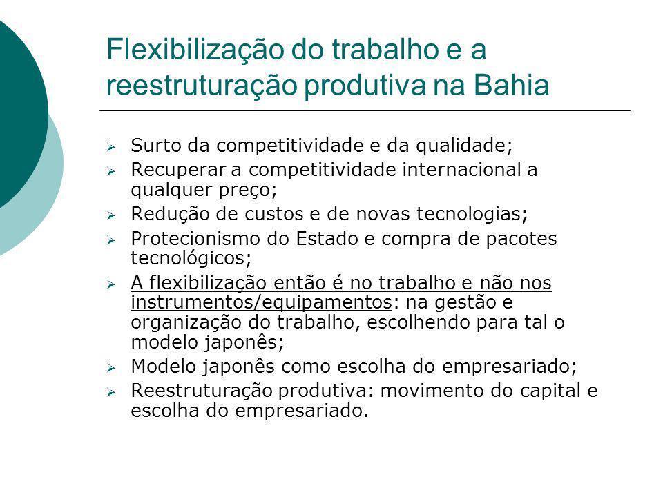 Flexibilização do trabalho e a reestruturação produtiva na Bahia