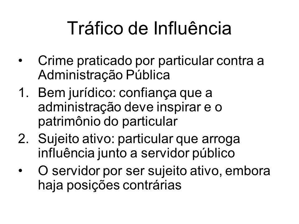 Tráfico de Influência Crime praticado por particular contra a Administração Pública.