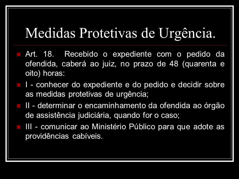 Medidas Protetivas de Urgência.