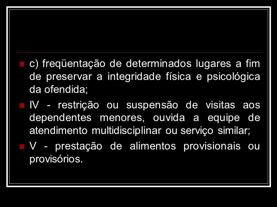 c) freqüentação de determinados lugares a fim de preservar a integridade física e psicológica da ofendida;