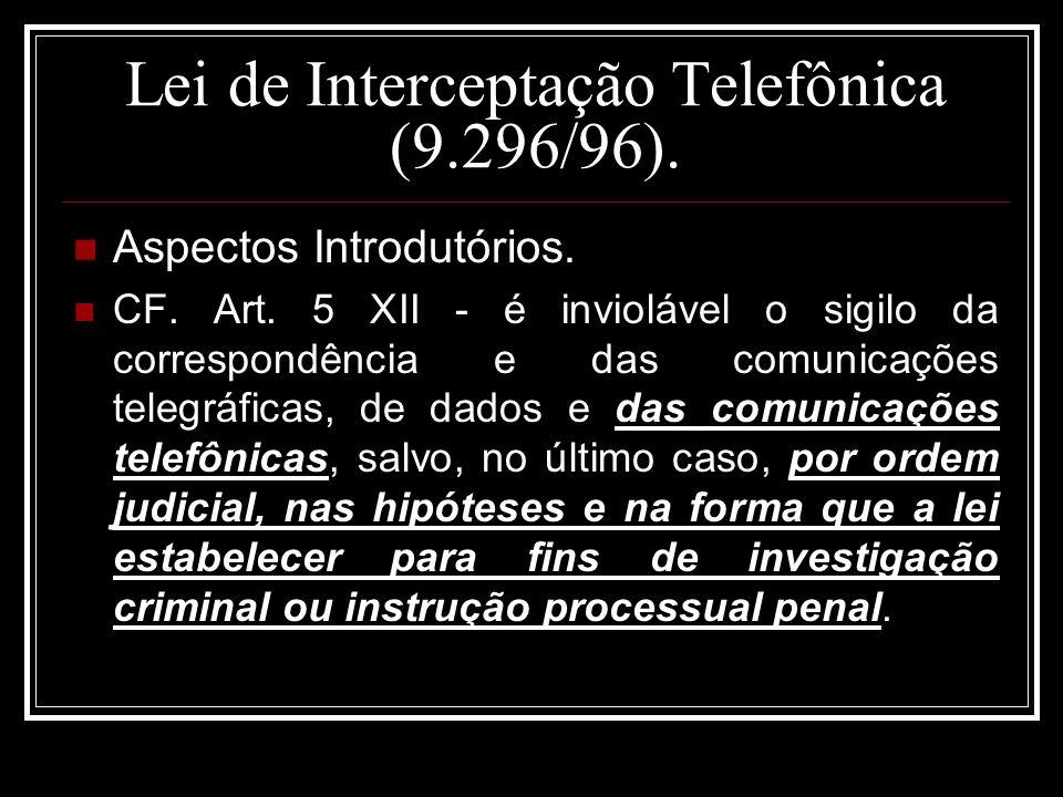 Lei de Interceptação Telefônica (9.296/96).