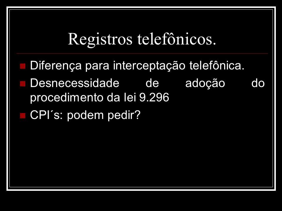 Registros telefônicos.