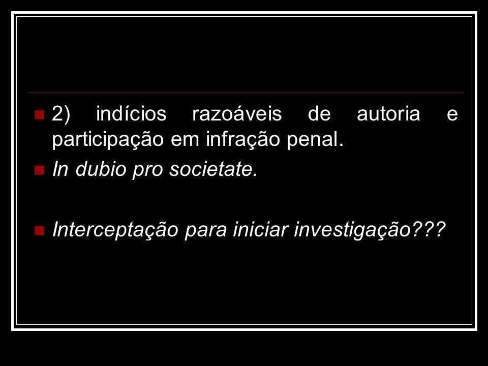 2) indícios razoáveis de autoria e participação em infração penal.