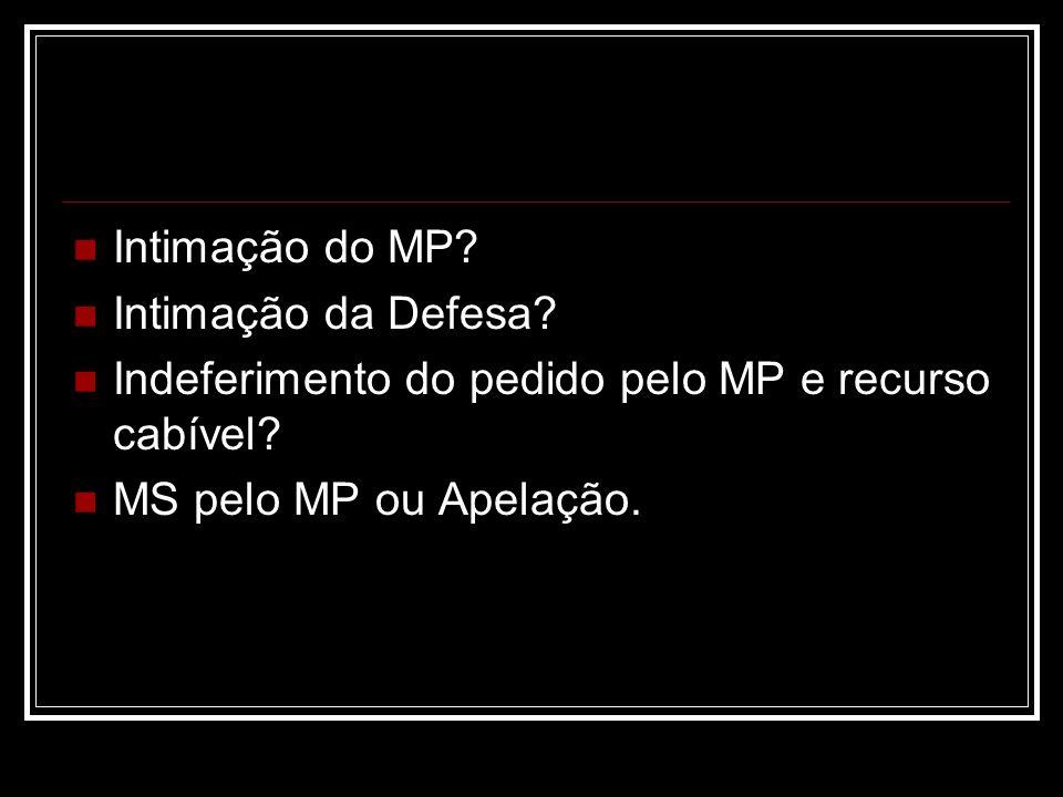 Intimação do MP. Intimação da Defesa. Indeferimento do pedido pelo MP e recurso cabível.