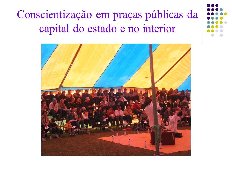 Conscientização em praças públicas da capital do estado e no interior