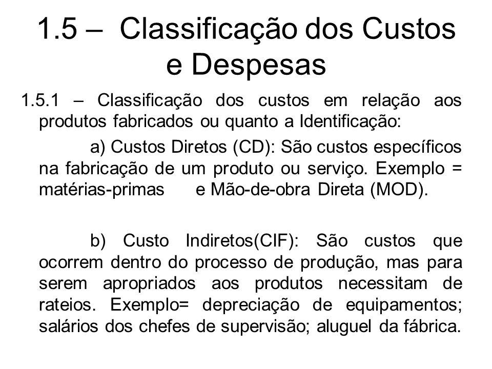1.5 – Classificação dos Custos e Despesas